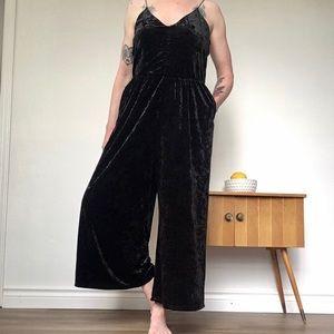 I Joah Black Crushed Velvet Jumpsuit
